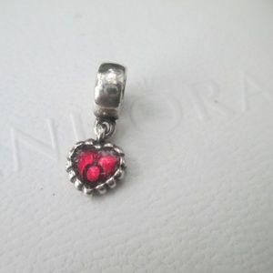 Authentic Pandora Sterling Silver Red Enamel Charm
